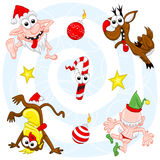 Crazy christmas set. The collection of crazy christmas characters:  bad Santa Claus, a monkey, a candy, a deer, an elf, christmas balls-bombs and stars Stock Photos