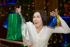 Crazy christmas shopping frenzy. Christmas preparation Royalty Free Stock Photography