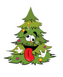 Crazy christmas tree cartoon Royalty Free Stock Images