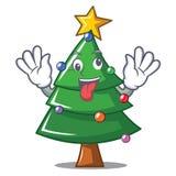 Crazy Christmas tree character cartoon. Vector illustration Royalty Free Stock Image