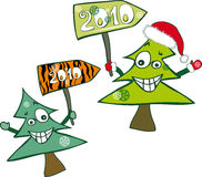 Crazy christmas trees Stock Photo