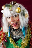 Crazy Christmas Woman Royalty Free Stock Image