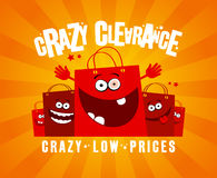 Crazy clearance design with bags Royalty Free Stock Images