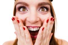 Crazy close up of woman face Stock Photos