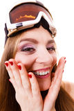 Crazy close up of woman face with ski goggles Royalty Free Stock Photography