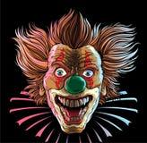 Crazy Clown Head. Smilу Crazy Clown Head on black background Royalty Free Stock Photo