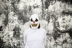 Crazy clown. Mask halloween costume and fear royalty free stock images