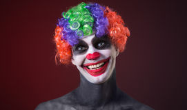 Crazy clown a terrible death Stock Images
