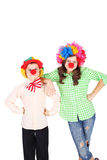 Crazy clowns. Cute little children dressed as the clowns Stock Images