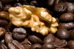 Crazy about coffee. Are you nuts about coffee ?  Nut lying on coffee beans texture Stock Photo