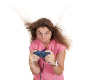 Crazy console woman Stock Photography
