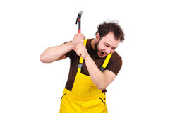 Crazy construction worker Stock Image