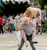 Crazy couple dance zumba class. Szczecin, Poland - May 23, 2014: Juwenalia, is an annual students' holiday in Poland, usually celebrated for three days in late Stock Image