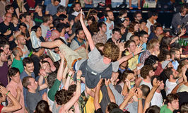 Crazy crowd at Heineken Primavera Sound 2014 Festival (PS14) Royalty Free Stock Images
