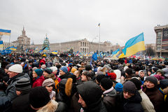 Crazy crowd on the occupying Maidan square moving  Stock Images