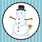 Crazy crying snowman with carrot Stock Image