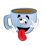 Crazy Cup of coffee cartoon Stock Photos