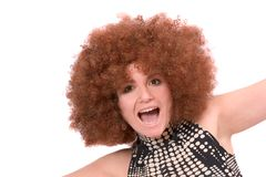 Crazy curly girl stock photo