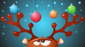 Crazy, cute deer. Merry christmas, Happy new year. royalty free illustration