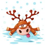 Crazy, cute deer. Merry christmas, Happy new year. vector illustration