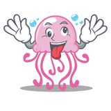 Crazy cute jellyfish character cartoon. Vector illustration Stock Photography