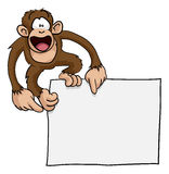 Crazy cute monkey sign illustration Royalty Free Stock Images