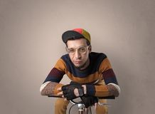 Crazy cyclist with empty background royalty free stock image