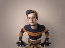 Crazy cyclist with empty background Royalty Free Stock Photo