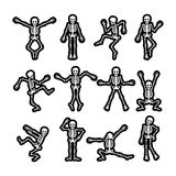 Crazy dancing skeletons stickers set. Crazy dancing skeletons stickers black and white vector set Royalty Free Stock Photography