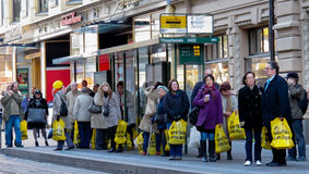 Crazy Days sales. HELSINKI,FINLAND-OC TOBER 6: Department store Stockmann's biannual event from 1986 Crazy Days sales is very popular,yellow plastic bags fills royalty free stock photo
