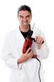 Crazy dentist with drilling machin Stock Photography