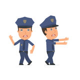 Crazy and Deranged Character Officer in strange pose under hypno Royalty Free Stock Images