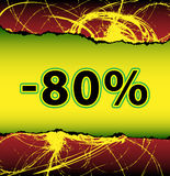 Crazy discount 80 percent off. Template for best offer from scratched and torn wallpaper Stock Photo