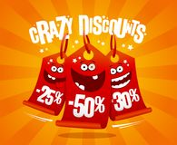 Crazy discounts banner with madness smiling price tags. 25%, -50%, -30 Royalty Free Stock Photo