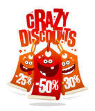 Crazy discounts sale banner, joyful smiling price tags. 25%, -50%, -30 royalty free illustration