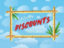 Crazy discounts sale poster in cartoon style Stock Photos