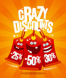 Crazy discounts vector poster concept with madness smiling price tags. 25%,-50%,-30 Stock Images