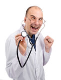 Crazy doctor. Isolated over white Royalty Free Stock Images