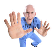 Crazy doctor. Nurse isolated over white Stock Photography