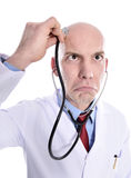 Crazy doctor. Nurse isolated over white Stock Image