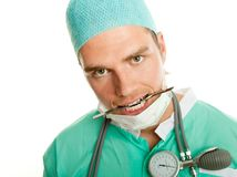 Crazy doctor with scalpel Stock Images