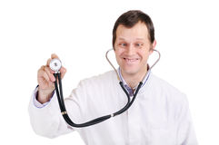 The crazy doctor with a stethoscope Royalty Free Stock Images