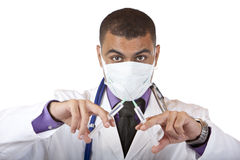 Crazy doctor with swine flu injection, mask Stock Images