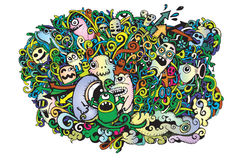 Crazy doodle Monsters,doodle drawing style Royalty Free Stock Photography