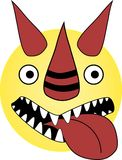 Crazy dragon emoticon with open mouth and devil smile stock illustration