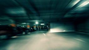 Crazy drive. In underground garage stock video footage
