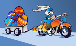 Crazy Easter Bunny cartoon in motorbike Royalty Free Stock Photo