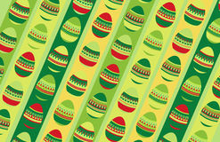 Crazy eggs background. Colorful Easter eggs on a stripy green and yellow background. Additional vector format Royalty Free Stock Photos
