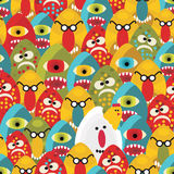 Crazy Eggs Monsters Seamless Pattern. Stock Image