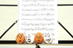 Crazy eggs singing Stock Photo